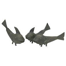 3 Vintage Mid Century Modern Style African Benin Bronze Fish Sculptures
