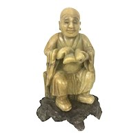 Vintage Chinese Asian Soapstone Carved Lohan Scholar Seated On Rock