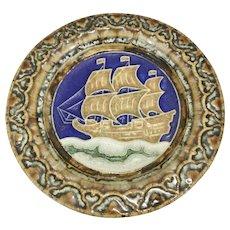 Pr Vintage Delft Porceleyne Fles Porcelain Round Tile Plaque W Ship