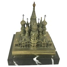 1970 Bronze Marble St. Basil's Cathedral Souvenir Building Replica USSR Russia Marble Base