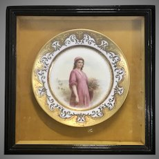 Antique Royal Vienna Ruth By Ahne Porcelain Plate Framed Gold