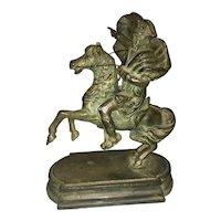 Antique Grand Tour Bronze Napoleon On Horseback Sculpture Crossing The Alps