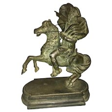 Antique Grand Tour Bronze Napoleon On Horseback Sculpture Crossing The Alps
