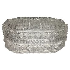 Cut Glass Crystal ABP Lidded Box Oblong Octagonal European With Hobstars