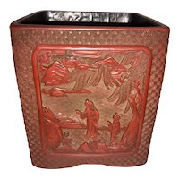 19TH C. Chinese Qianlong Period Carved Cinnabar Large Brush Pot /Vase Asian