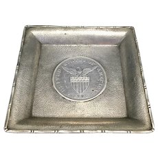 Wang Hing & Co Chinese 90% Silver Small Dish W 1903 Filipino Silver Peso US Eagle