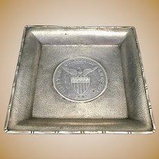 Wang Hing & Co Chinese 90% Silver Small Dish W 1903 Filipino Silver Peso US Eagle