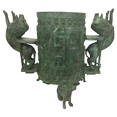 Archaic Chinese Shang Dynasty Style Verdigris Bronze Cauldron Vessel W Footed Cats Lion Handles