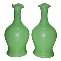 Pr Antique French Jade Green Opaline Glass Barber Bottles Decanters