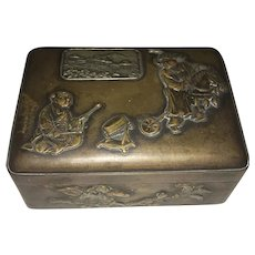 Antique Japanese Mixed Metal Bronzed Metal & Silver Lidded Box Raised Decoration