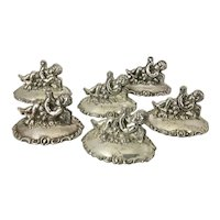 6 Vintage Silver Plated Place Card Holders Winged Cherubs On Clouds W Horns