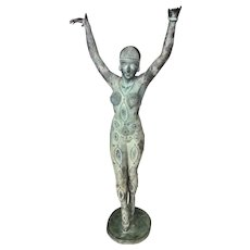 Huge (After) Dimitri Chiparus Goddess Dourga 4.5 Foot Tall Bronze Sculpture Statue Art Deco Style