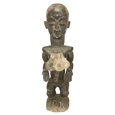 "28"" Tall African Tribe Baule Fertility Carved Wood Female Figure Maternity W Metal Necklace 1950's"