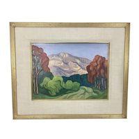 Vintage Melva Riley CA Stylized Plein Air Painting On Canvas East County Art Assoc. Gilt Frame