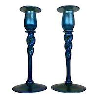 Pr Twisted Blue Aurene Frederick Carder Steuben Art Glass Candle Holders Iridescent Signed