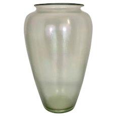 Large 1920's Steuben Verre De Soie Art Glass Iridized Vase Frederick Carder