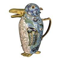 Vintage Chinese Cloisonne Figural Penguin Form Teapot Pitcher Enameled Bird