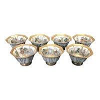 7 Antique Japanese Satsuma Kutani Octagonal Sake Cups Gold Gilt 8 Panel Poems Hand Painted