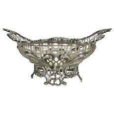 Victorian 1891 William Comyns London Sterling Silver Pierced & Chased Roses Footed Basket