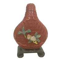 Vintage Chinese Cinnabar Red Lacquer Snuff Bottle W Jade Stone Trim On Stand