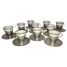 10 Frank Whiting Sterling Silver Lenox Porcelain Liners Demitasse Cups Saucers