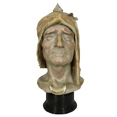 """15.5"""" Sevres Alphonse Amedee Cordonnier Stoneware Pottery Dante Bust On Marble Sculpture France"""