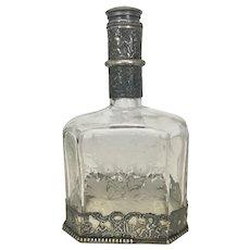 Antique 19th C German 800 + Silver Etched Glass Crystal Liquor Decanter Hanau Hallmarks