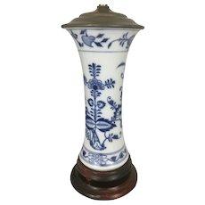 German Meissen Porcelain Blue Onion Vase To Boudoir Table Lamp Germany Blue White Wood Base