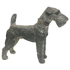 1930's Airedale Terrier Dog Cold Painted Spelter White Metal Cigarette Cigar Lighter