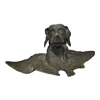 Antique German Bronze Figural Inkwell Hunting Game Bird Dog Retriever W Duck In Mouth