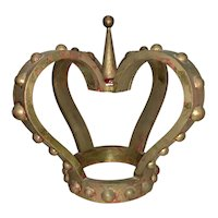 Antique Continental European Italian Carved Gilt Wood Bed Crown Corona Royal