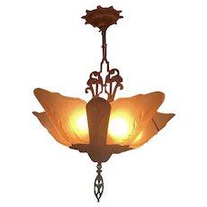 Art Deco Period Chandelier Light Fixture W 5 Glass Slip Shades Fleur Di Lis Virden Company