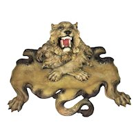 Antique European Germany Austrian Cast Iron Metal Figural Lion Pen Inkwell Cold Painted