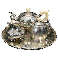 Small Victorian Austrian 800 Silver Tea Set Service Footed & Sugar Bowl Caryatids Pot Creamer SP Tray
