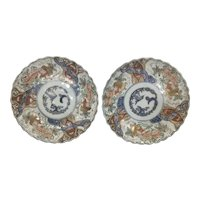 Pr Meiji Period Japanese Imari Kutani Porcelain Cabinet Plates Dog Cat Scalloped