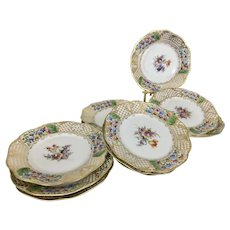 12 Franziska Hirsch Porcelain Hand Painted Floral Bread Plates Webb & Sons Dresden Germany