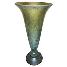 Vintage Lundberg Glass Studios Trumpet Vase Iridescent Blues Golds Seconds