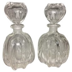 Pair Antique French Crystal Glass Decanters Perfumes W Hollow Stopper Pinched Ribbed