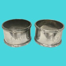 Antique Pair Meriden Brittania Sterling Silver Napkin Rings Holders Marked