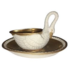 Sevres Bisque Porcelain Swan Cup W Saucer Gilt Interior French Empire Classicism France