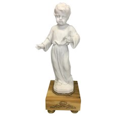 Sevres Bisque Porcelain Young Child On Marble Base Ormolu Mounts Signed By Louis Simon Boizot
