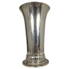 Georg Jensen Danish Sterling Silver Tall Vase Arts & Crafts Craftsmen Period Denmark Hammered