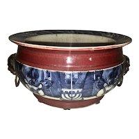 Fine Old Scholar Chinese Export Porcelain Censer Brush Pot Foo Dog Handles Blue White Oxblood Copper Red Archaic Symbols
