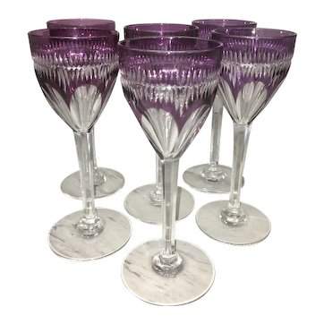 6 Vintage Signed Baccarat French Cut Crystal Wine Glass Stemware Clear To Amethyst