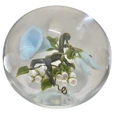 Vintage Victor Trabucco Art Glass Magnum Paperweight Morning Glories Signed