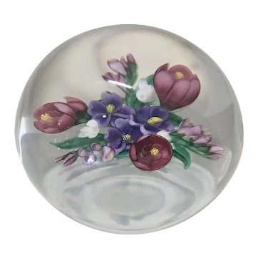 1989 Randall Grubb Signed Art Glass Paperweight Floral Bouquet