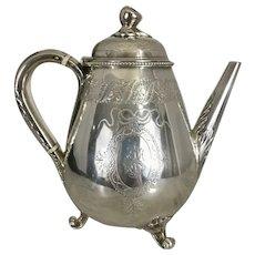 1880 Victorian Sterling Silver Teapot Fruit Finial George Fox London Tea Pot