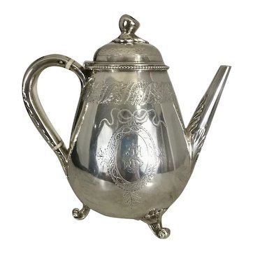 1880 Victorian Sterling Silver Teapot Fruit Finial George Fox London Tea Pot