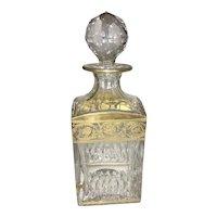 Vintage St Louis Cristal Cut Crystal Thistle Pattern Whiskey Decanter Gilt Trim