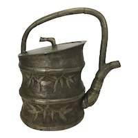 Antique Chinese Export Silver On Copper Teapot Tea Pot W Bamboo Shoots Leaves Repousse Stippled Surface
